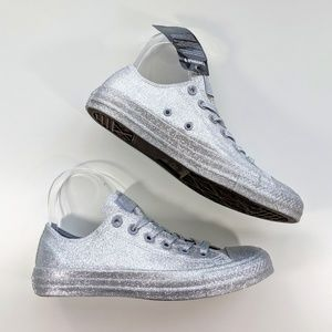 Converse All Star Low Top Silver Glitter